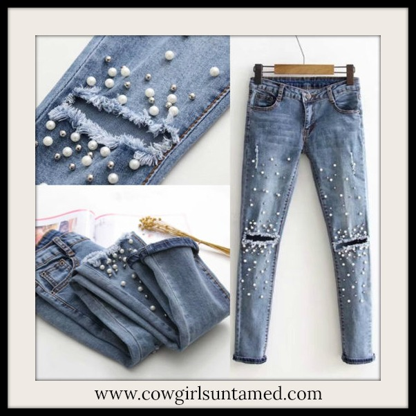 COWGIRL GLAM JEANS Pearl Embellished Silver Studded Distressed Stretchy Skinny Jeans