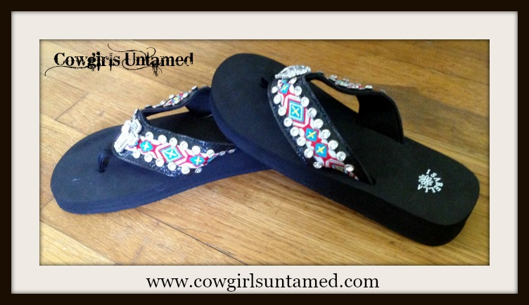 COWGIRL GYPSY SHOES Rhinestone Cross Concho on Rhinestone Studded Aztec Embroidered Strap on Black Heel Flip Flops