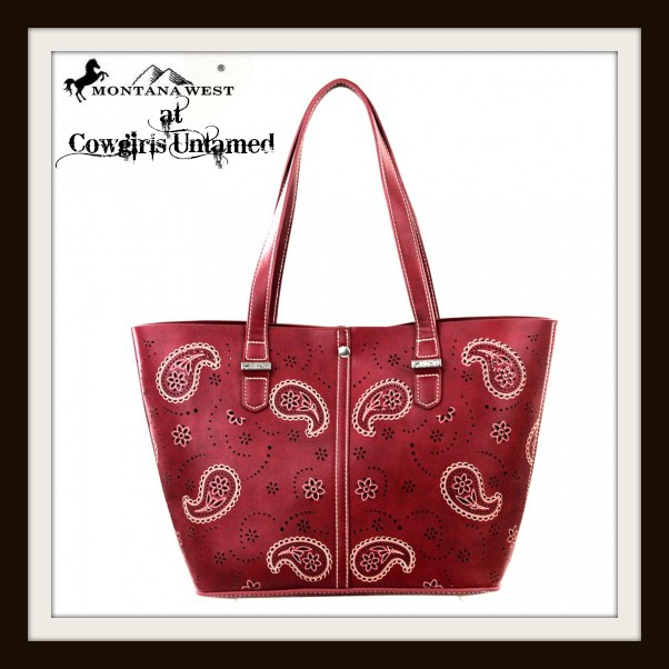 COWGIRL STYLE HANDBAG White Embroidered Floral Paisley Western Tote