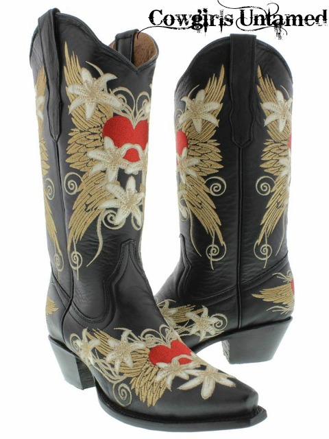 COWGIRL STYLE BOOTS Embroidered Red Heart N Beige Floral Angel Wings Snip Toe GENUINE BLACK LEATHER Western Cowgirl Boots