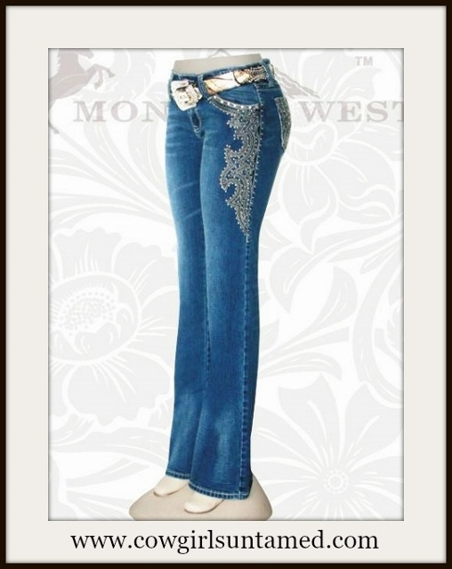 MONTANA WEST JEANS Embroidered Swirl Silver N Rhinestone Embellished Stretchy Boot Cut Western  Trinity Blue Jeans