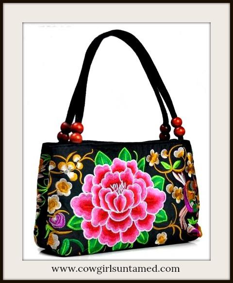 VINTAGE BOHEMIAN HANDBAG Floral Embroidered Peony Black Canvas Medium Boho Handbag