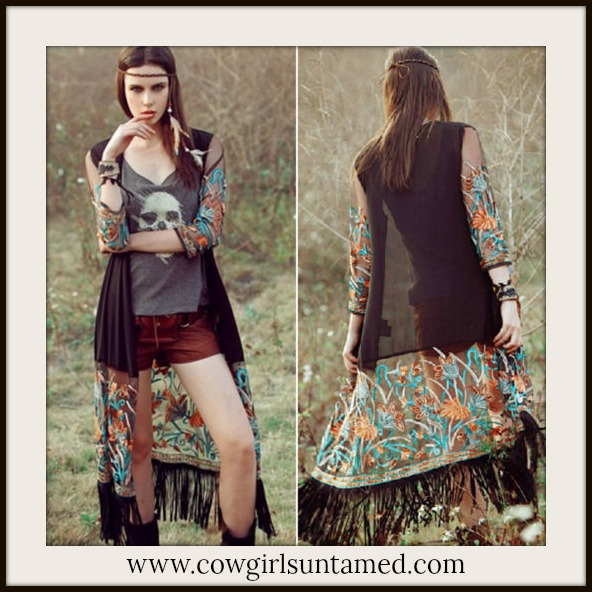 COWGIRL GYPSY JACKET Multi Color Embroidery on Fringe Sheer Long Black Kimono