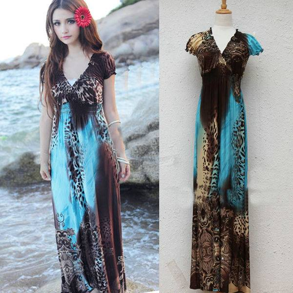 COWGIRL GYPSY DRESS Empire Waist Cap Sleeve Aqua Blue N Brown Leopard Western Maxi Dress