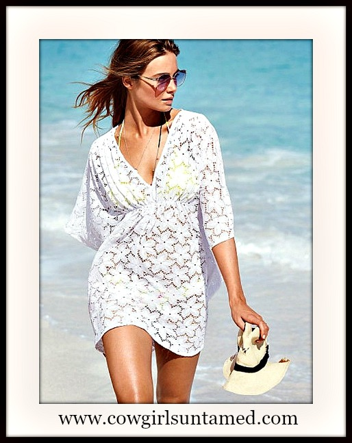 COWGIRL GYPSY COVER UP White Floral Lace V Neck Western Bikini Cover Up Tunic Top