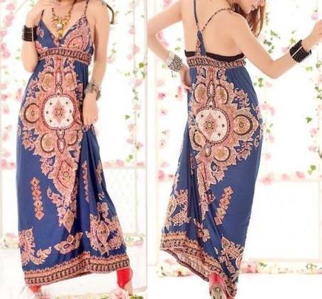 COWGIRL GYPSY DRESS Empire Waist Spaghetti Strap Blue Western Maxi Dress