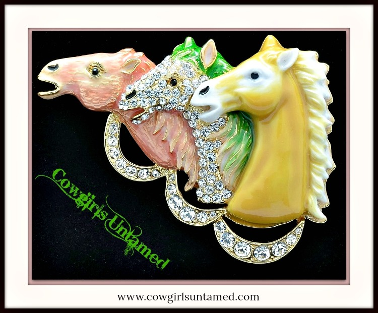 """HORSE LOVIN' COWGIRL BROOCH PIN """"DERBY DAY"""" Pink N Yellow Pastel Enamel Horse Heads with Swarovski Crystals Brooch Pin"""