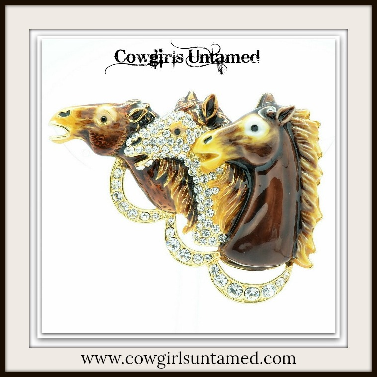 """HORSE LOVIN' COWGIRL BROOCH PIN """"DERBY DAY"""" Shades of Brown & Swarovski Crystal Horse Heads Pin"""