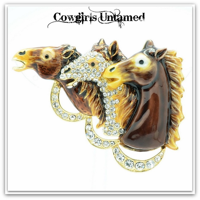 "HORSE LOVIN' COWGIRL BROOCH PIN ""DERBY DAY"" Shades of Brown & Swarovski Crystal Horse Heads Pin"