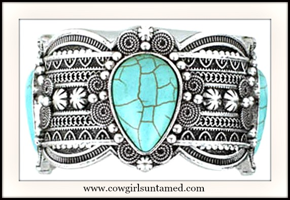 COWGIRL STYLE BRACELET Etched Antique Silver Turquoise Stone Western Cuff