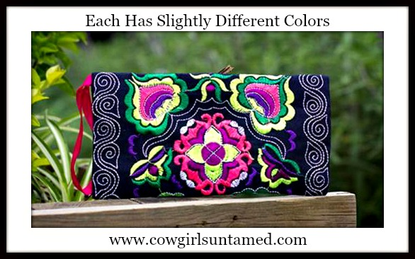 COWGIRL GYPSY BAG Ethnic Handmade Embroidered Boho Wristlet Clutch Wallet Make Up Bag