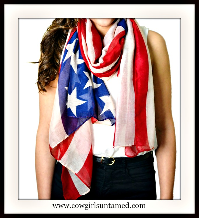 AMERICAN COWGIRL SCARF Red White N Blue Stars & Stripes Western Scarf