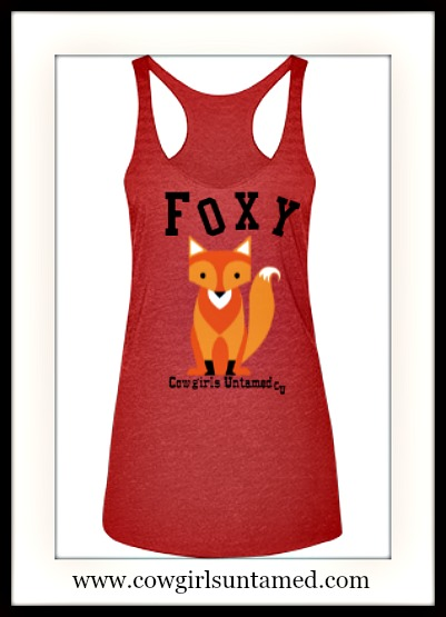 "COWGIRL ATTITUDE TANK TOP ""Foxy"" & Brown Fox on Sleeveless Racerback Tank Top"
