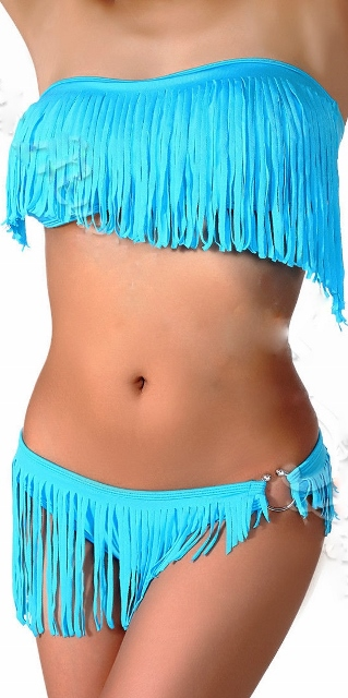 COWGIRL GYPSY BIKINI Padded Fringe Strapless Top and Hi Lo Fringe Bottom Western Bikini Swimsuit