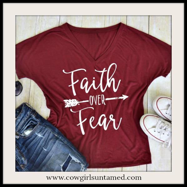 "COWGIRL ATTITUDE TOP White ""Faith Over Fear"" Arrow Deep Red Short Dolman Sleeve Top"