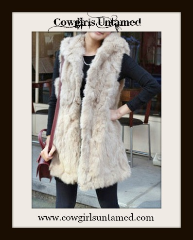 COWGIRL GYPSY VEST Beige Faux Fur Hooded Vest