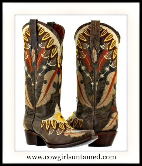 COWGIRL STYLE BOOTS Embroidered Feathers and flower on Brown Leather Cowgirl Boots