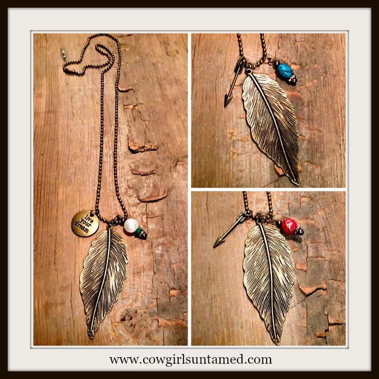 WILDFLOWER NECKLACE Antique Bronze Feather with Rhinestone & Antique Bronze Charm Necklace