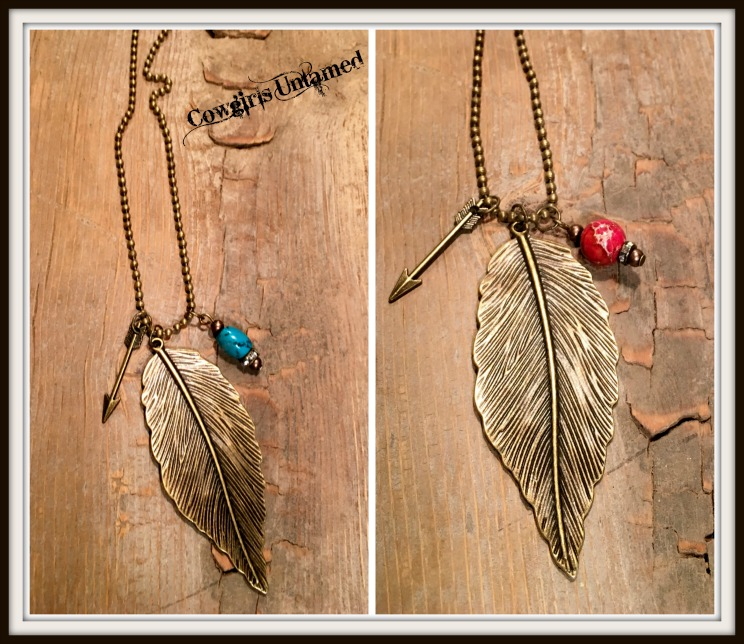 WILDFLOWER NECKLACE Antique Bronze Feather with Rhinestone & Antique Bronze Charm Necklace