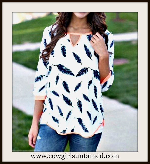 COWGIRL STYLE TOP Feather Print on White 3/4 Sleeve Keyhole Top