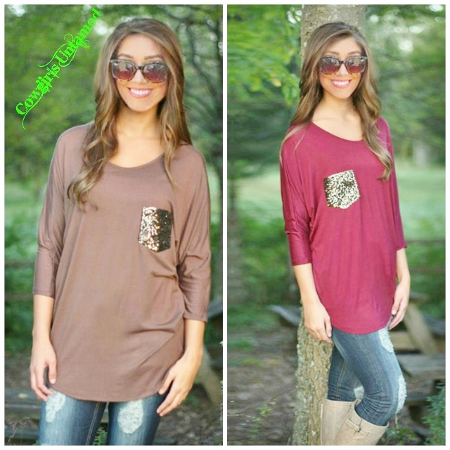 COWGIRL GLAM TOP Sequin Pocket Dolman  3/4 Sleeve Loose Fit Tunic Top