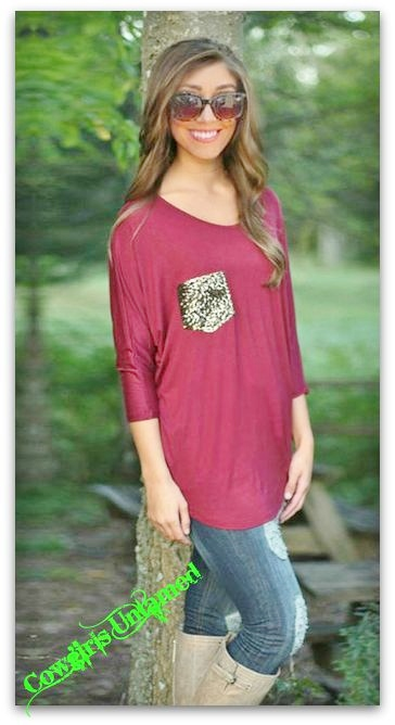 Cowgirl Glam Top Sequin Pocket Long Sleeve Top Wine