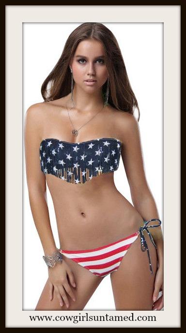 AMERICAN COWGIRL BIKINI Red White & Blue Strs N Stripes Flag Fringe Strapless Western String Bikini