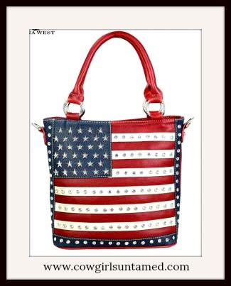 AMERICA FIRST HANDBAG Rhinestone Studded USA American Flag Concealed Handgun Handbag