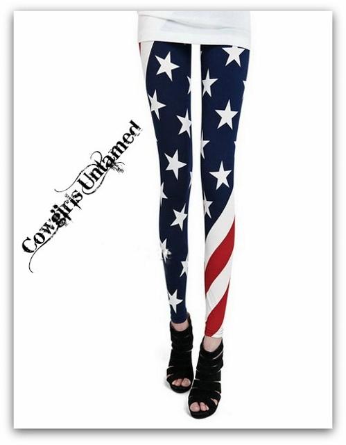 AMERICAN COWGIRL LEGGINGS Stars N Stripes Wrap Around Graphic Leggings