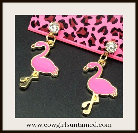 TRAVELIN' COWGIRL GYPSY EARRINGS Pink Swarovski Crystal Pink Flamingo Western Earrings