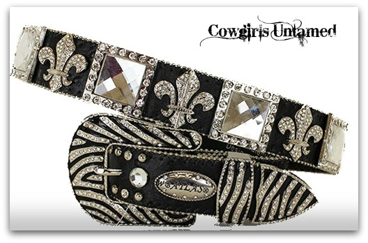 ATLAS BELT Cowgirl Western Rhinestone Fleur De Lis & Square Conchos with Zebra Buckle on Black Leather Belt