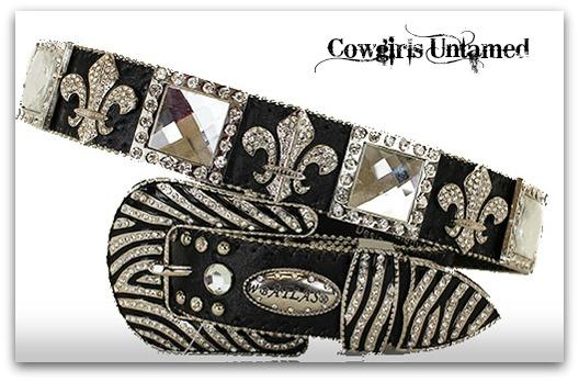 ATLAS BELT Cowgirl Western Rhinestone Fleur De Lis & Square Conchos with Zebra Buckle on Black Leather Belt