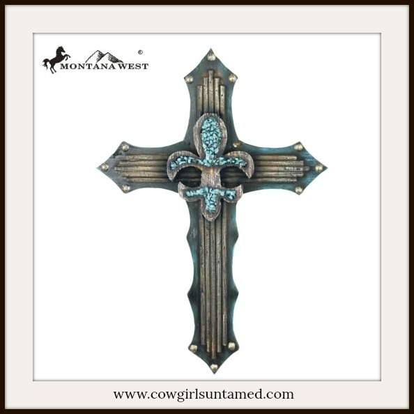 SPIRITUAL COWGIRL DECOR Turquoise Fleur de Lis on Cross Wall Hanging