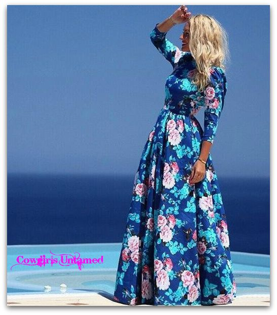 WILD FLOWER DRESS Pink N White Turquoise Floral Chiffon 3/4 Sleeve Boho Maxi Dress