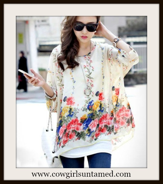 SOUTHERN BELLE TOP Oversized Dolman Sleeve Floral Cream Chiffon Top