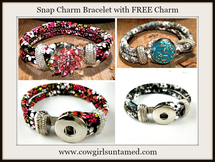 COWGIRL GLAM BRACELET Floral Double Strap and Silver hardware with FREE SNAP CHARM