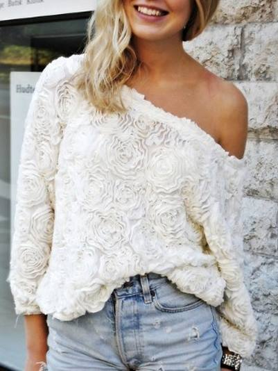 COUNTRY COWGIRL TOP Floral Rose Lace Oversized 3/4 Sleeve WHITE Western Sweater Top Blouse