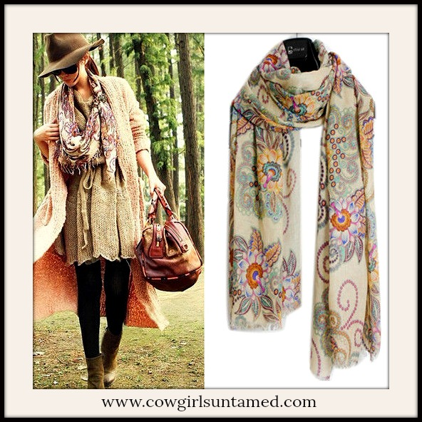 COWGIRL GYPSY SCARF Floral Vintage Look Long Scarf
