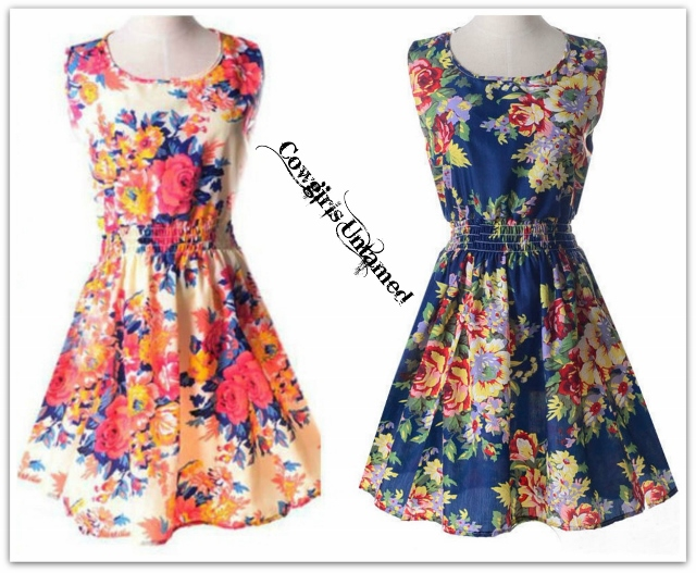 COUNTRY COWGIRL DRESS Floral Chiffon Sleeveless Mini Dress