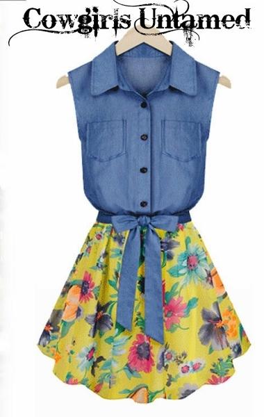 COUNTRY COWGIRL DRESS Sleeveless Yellow Floral Chiffon & Denim Jean Western Dress