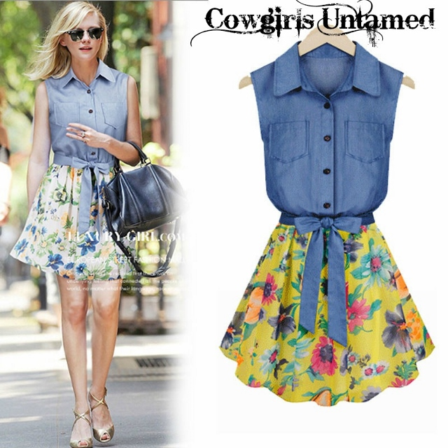 COUNTRY COWGIRL DRESS Sleeveless Yellow Floral and Denim Jean Western Mini Dress