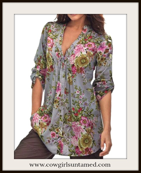 COWGIRL GYPSY TOP Floral V-Neck Pleated Grey Blouse