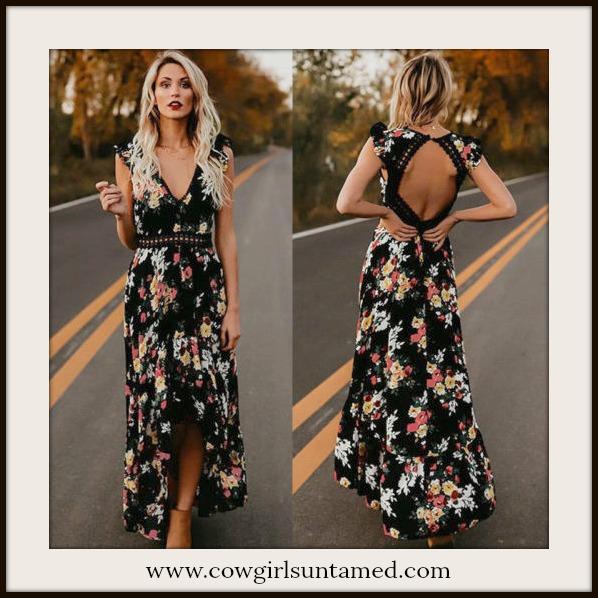 MAGNOLIAS BLOOM DRESS Floral Open Back Sleeveless Black Maxi Dress