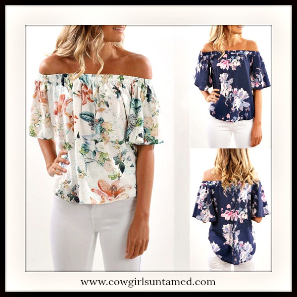 WILDFLOWER TOP Floral Off The Shoulder Ruffle Flounce Top