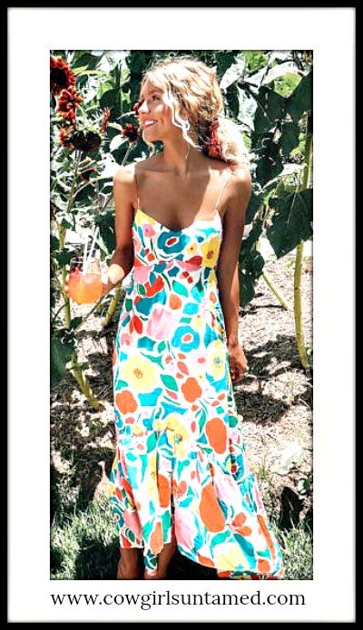 COWGIRL CHIC DRESS Multi Color Floral Sleeveless Boho Summer Midi Dress