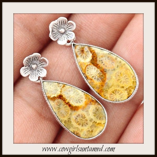 COWGIRL GYPSY EARRINGS Brown and Yellow Fossil Coral Gemstone Sterling Silver Flower Earrings
