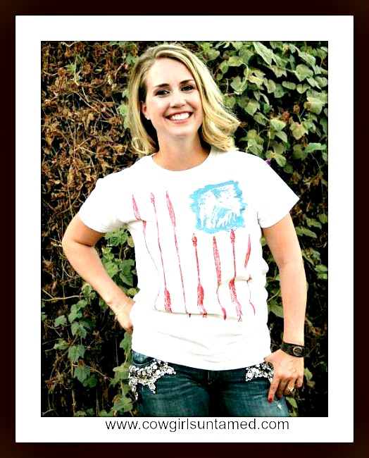 COWGIRL ATTITUDE TEE Freedom Arrow Red Blue Indian Short Sleeve White Western T-Shirt