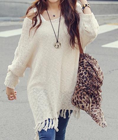 COWGIRL GYPSY SWEATER Dolman Long Sleeve Oversized FRINGE Western Tunic Sweater Top