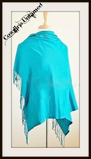 WILDFLOWER SCARF SHAWL Turquoise Cashmere Pashmina Fringe Wrap Scarf