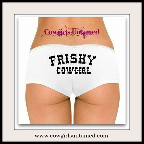 """COWGIRL ATTITUDE PANTY  """"Frisky Cowgirl"""" White Low Rise Panty Hot Short"""